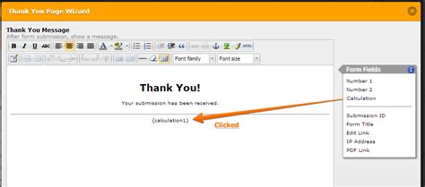 cannot add calculation widget tag to the thank you message