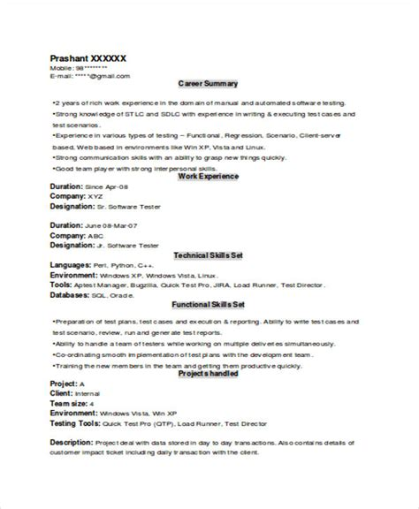 testing resume format for experienced experienced resume format template 8 free word pdf