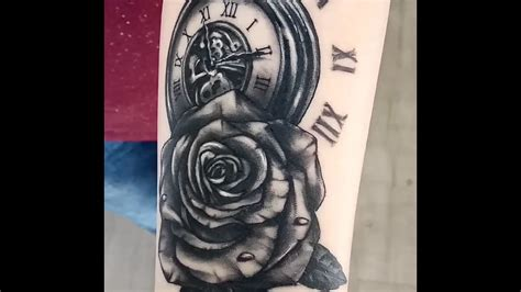 tattoo r 233 aliste montre gousset et rose youtube