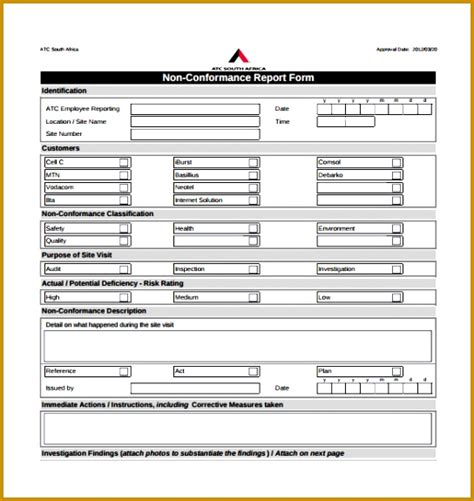 non compliance report template 5 quality non conformance report template fabtemplatez