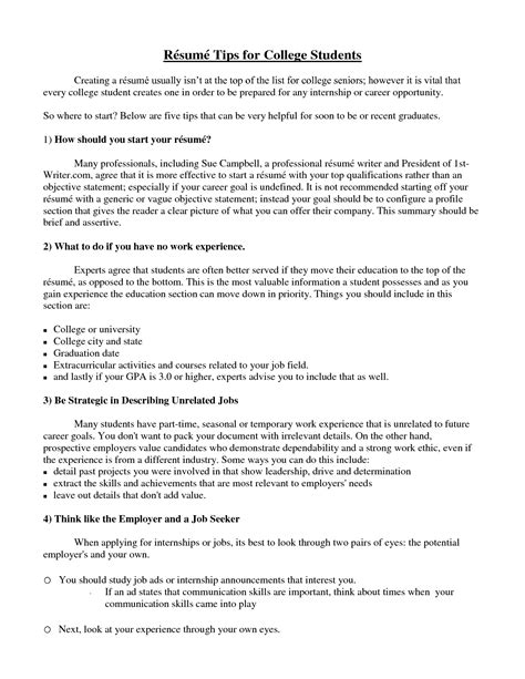 doc 8208 what a college student resume should look like
