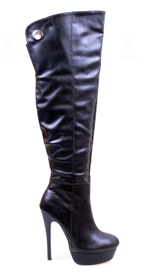 designer black platform stiletto heel thigh high knee