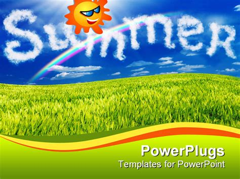 Powerpoint Template Animated Smiling Sun In A Blue Sky Over Green Grass 28023 Summer Powerpoint Templates