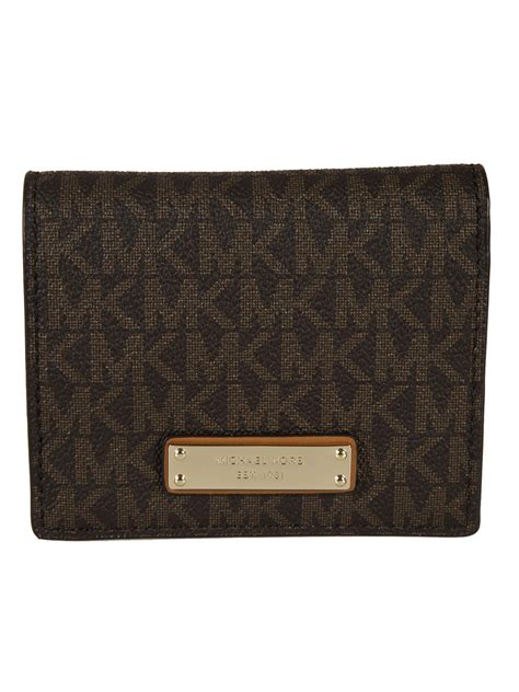 Mw23 Pattern Design Wallet Brown michael kors michael kors logo pattern wallet brown s wallets italist