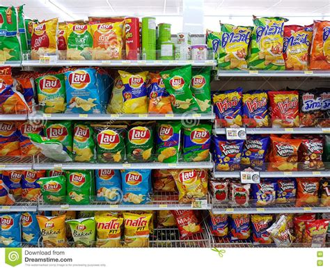 Shelf Of Potato Chips by Chiang Thailand November 26 Various Brand Of