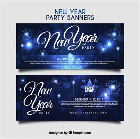 new year banner free new year banners with fireworks vector free