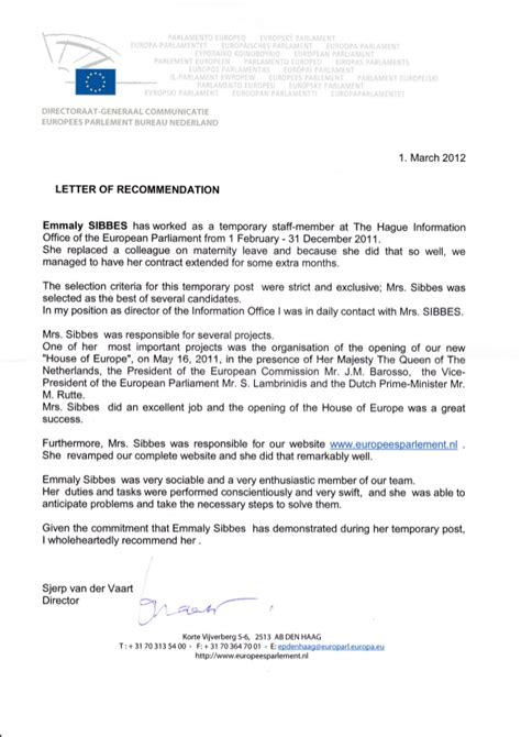 Reference Letter Yours Sincerely letter of recommendation european parliament