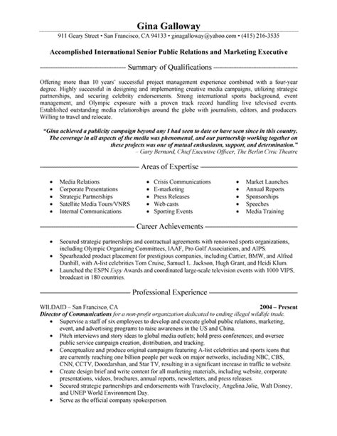 Relation Executive Resume by Relations Executive Resume Exle