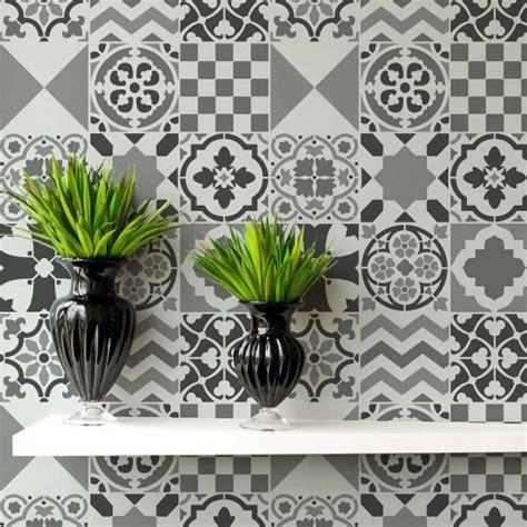 Patchwork Stencils - patchwork tile stencil portugese tile stencils for walls