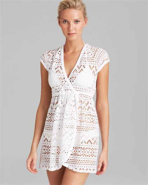 robin piccone white penelope sheer wrap dress swim cover
