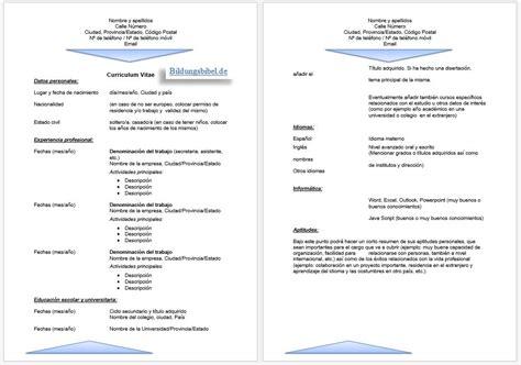 Vorlage Bewerbung Und Lebenslauf by Gratis Bewerbung Spanisch Anschreiben Lebenslauf Vorlage