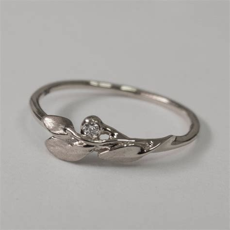 Wedding Rings Leaves by Leaves Ring No 1 14k White Gold And