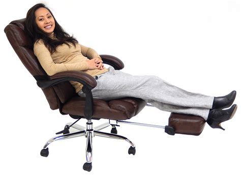office reclining chair leather reclining office chair w footrest