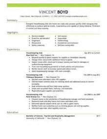 resume housekeeping resume sles skills and