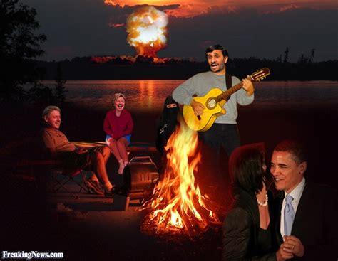 Mahmoud Ahmadinejad funny campfire pictures freaking news