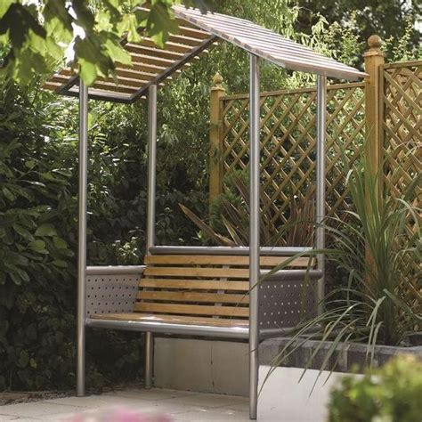 garden bench with roof monaco aluminium bench with roof 163 249 garden4less uk shop