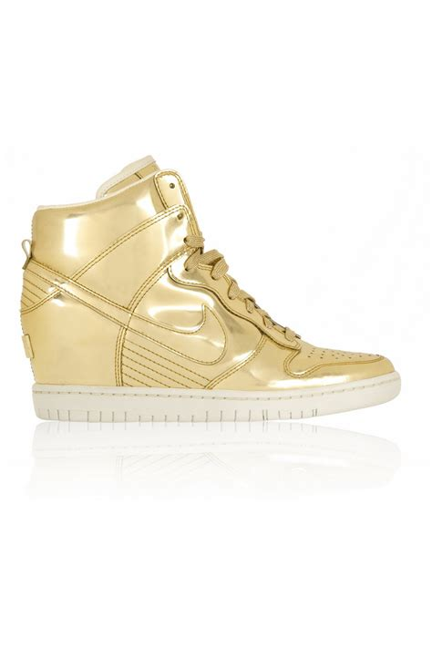 gold wedge sneaker nike dunk sky hi metallic leather wedge sneakers in gold
