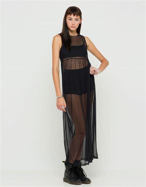 buy motel seren sheer maxi dress in black mesh at motel