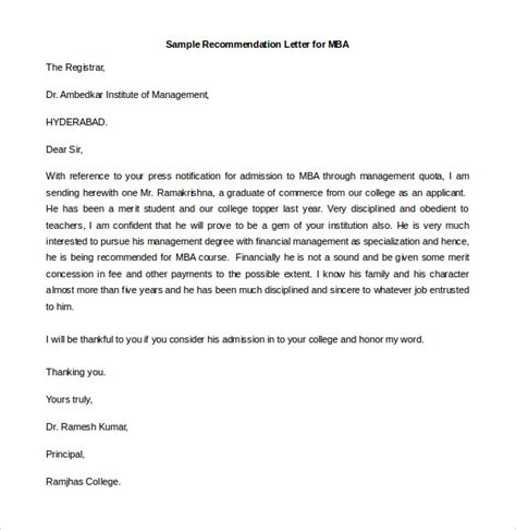 Mba Reference Letter Template by 30 Recommendation Letter Templates Pdf Doc Free