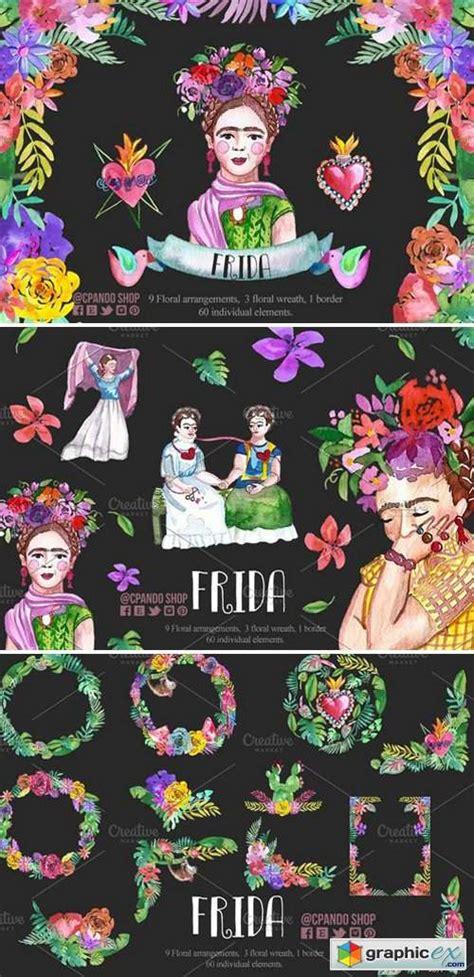 frida kahlo watercolor clip art   vector stock image photoshop icon