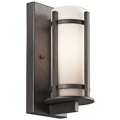 Kichler Outdoor Wall Light With White Glass In Anvil Iron Kichler Exterior Lighting