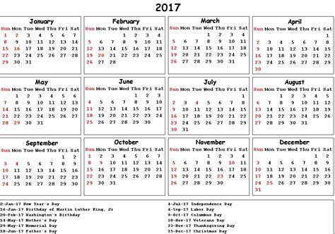 United States Of America Usa Calend 2018 2017 Calendar Usa Holidays