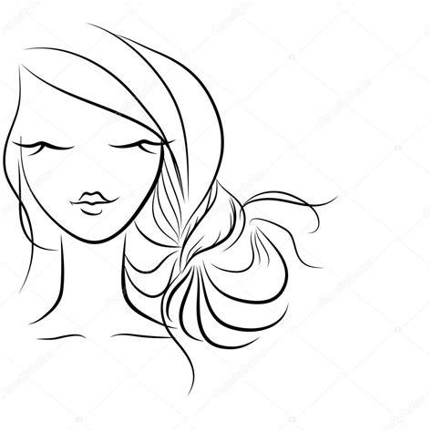 desenho cabelo desenho de penteado cabelos em um coque vetor de stock