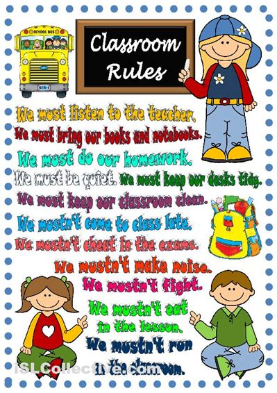 printable instructions classroom classroom rules poster esl efl in infant and primary