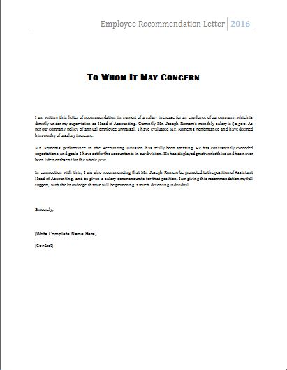 Reference Letter Template For Employee Ms Word Employee Recommendation Letter Template Word