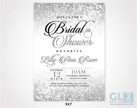 silver bridal shower invitation silver white black pink - Silver And White Bridal Shower Invitations