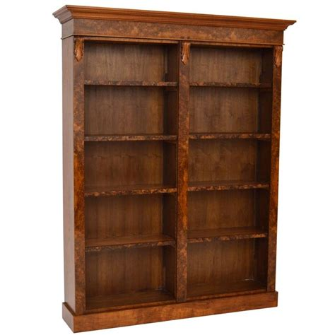 bespoke antique burr walnut open bookcase for sale at 1stdibs