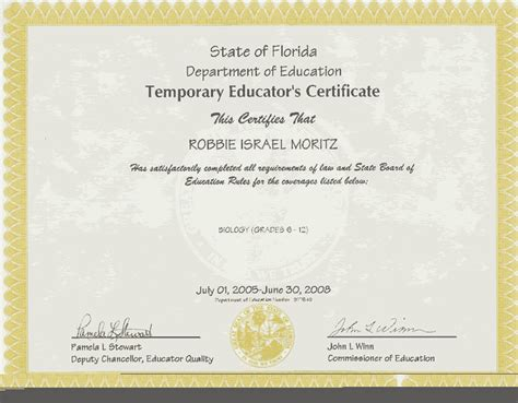 robbie moritz teaching certificate and statement of eligibility