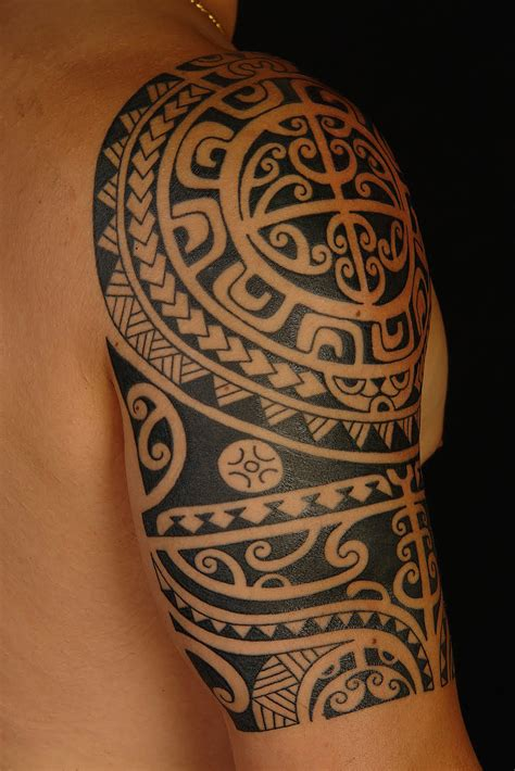 tribal sleeve tattoo meanings hautezone polynesian tattoos a tribal artform