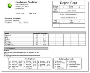 attendance report card template headmaster academy sle reports