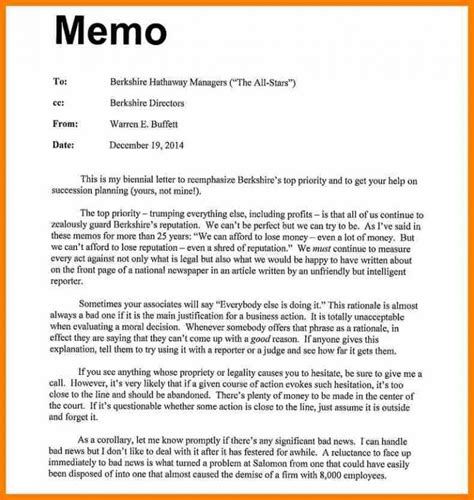 how to write a memo to employees sle memo format template business