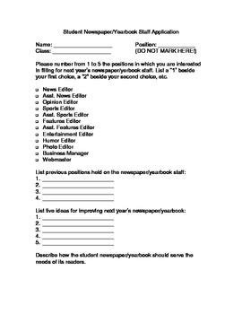 Yearbook Applications Journalism Staff Application Position Descriptions For
