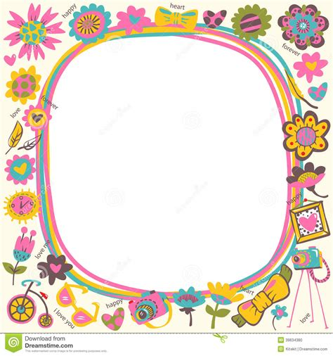 flower love cute frame with fashionable things light