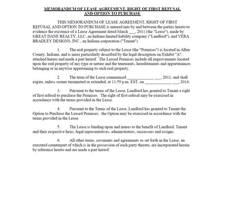 Vera Bradley Inc Form 10 Q Ex 10 4 Lease Agreement Dated As Of March 28 2011 June 14 Right Of Refusal Template Real Estate