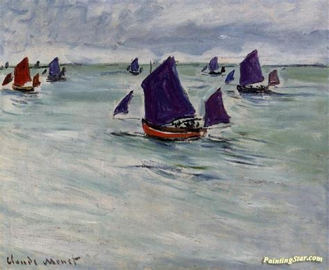 fishing boat art work fishing boats off pourville artwork by claude oscar monet