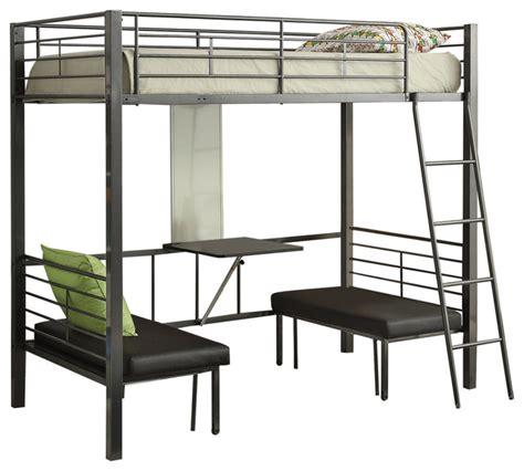 acme furniture hakem loft bed with adjustable seats foldable desk black pu gunmetal loft