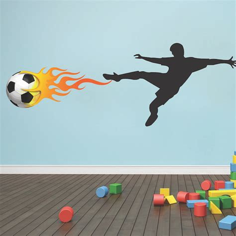 soccer wall sticker soccer player flames wall decal mural sports stickers