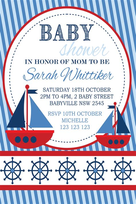 Baby Shower Nautical Theme Invitations by White Navy Blue Nautical Boat Boats Theme Baby Shower