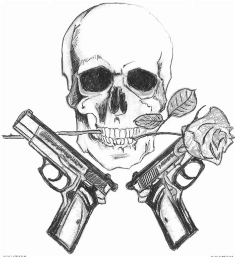 skull rose gun tattoo skull 1 artists org