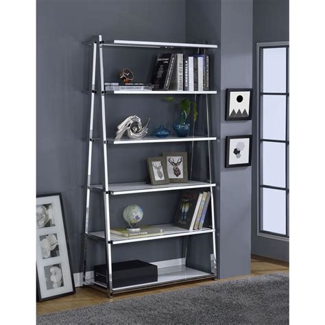 Acme Furniture Coleen White High Gloss And Chrome Leaning White High Gloss Bookcase