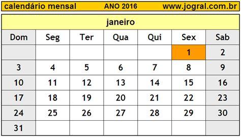 calendario 2016 mes a mes calend 225 rio mensal janeiro de 2016 imprimir m 234 s de