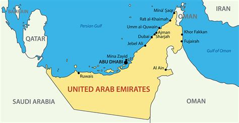 map of the united arab emirates uae map blank political uae map with cities