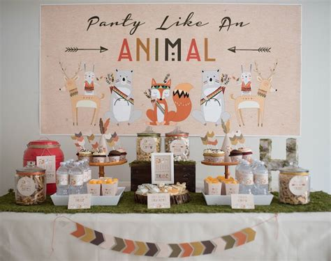 animal themed events dessert table from a woodland animal birthday party via