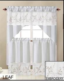 Floral Kitchen Curtains Floral Leaf Embroidered Kitchen Curtain Tier Swag Set By Goodgram 174 Ebay