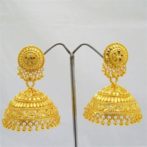 Huge Chandelier Earrings 22k Big Gold Plated Jhumka Earrings Indian Traditional