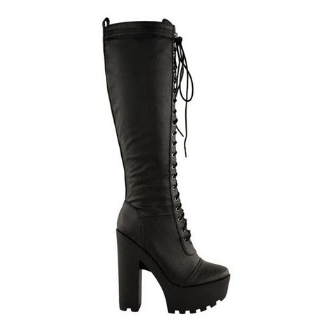 new womens knee high chunky platform high block